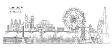 Illustrazione di arte di linea di vettore dei punti di riferimento di Londra, Inghilterra. Illustrazione panoramica di vettore dell'orizzonte della città di Londra isolato su priorità bassa bianca. Icona di vettore di Londra. Contorno dell'edificio di Londra.
