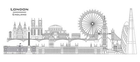 Vector line art illustration of landmarks of London, England. London city skyline panoramic vector illustration isolated on white background. London vector icon. London building outline.