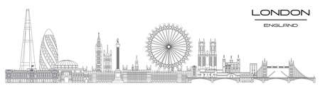 Vector panoramic line art illustration of landmarks of London, England. London city skyline vector illustration isolated on white background. London vector icon. London building outline.  イラスト・ベクター素材