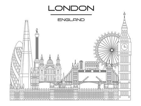 Vector line art illustration of landmarks of London, England. London city skyline monochrome vector illustration isolated on white background. London vector icon. London building outline.