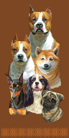 Vertical postcard with dogs of different breeds. Colorful vector realistic illustration of dog portraits:American Staffordshire Terrier,Pug, Spaniel  isolated on brown background. Art for designe, banner and cards.  Illusztráció