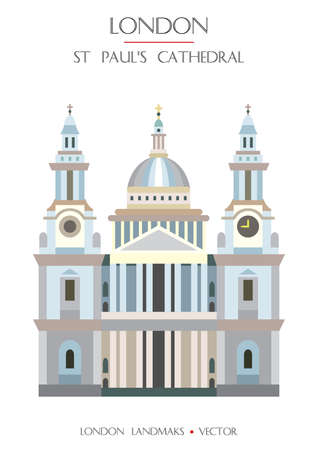 Colorful vector St Pauls Cathedral, famous landmark of London, England. Vector illustration isolated on white background. Stock illustration