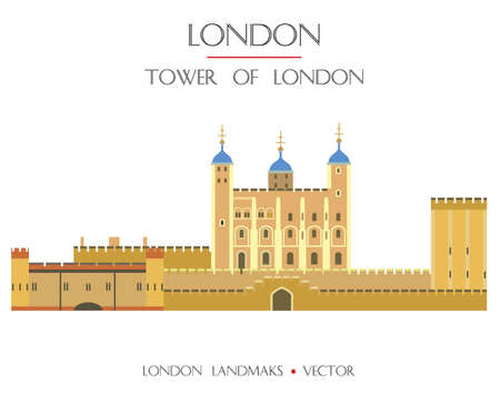 Colorful vector Tower of London, fortress famous landmark of London, England. Vector flat illustration isolated on white background. Stock illustration