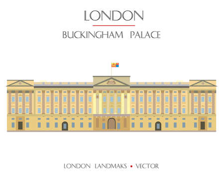 Bunter Vektor Buckingham Palace, Wahrzeichen von London, England. Flache Illustration des Vektors lokalisiert auf weißem Hintergrund. Lagerabbildung Vektorgrafik