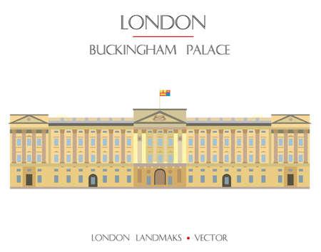 Colorful vector Buckingham Palace, famous landmark of London, England. Vector flat illustration isolated on white background. Stock illustration