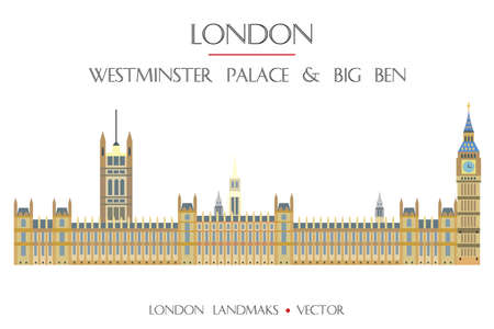 Colorful vector Westminster Palace and Big Ben, famous landmark of London, England. Vector flat illustration isolated on white background. Stock illustration