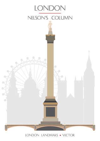 Colorful vector Nelsons Column, famous landmark of London, England. Vector illustration isolated on white background. Stock illustration Illusztráció