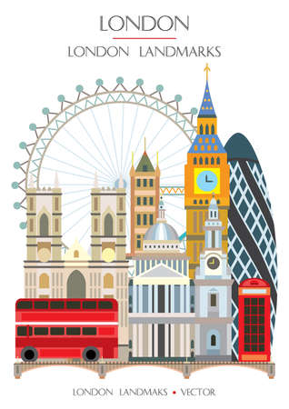 Colorful vector illustration famous landmarks of London, England. Vector illustration isolated on white background. Stock illustration  イラスト・ベクター素材