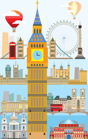 Colorful vector illustration of London landmarks. Poster with London city skyline vector isolated illustration. Vertical vector London background. Vector colorful illustration of London, England.