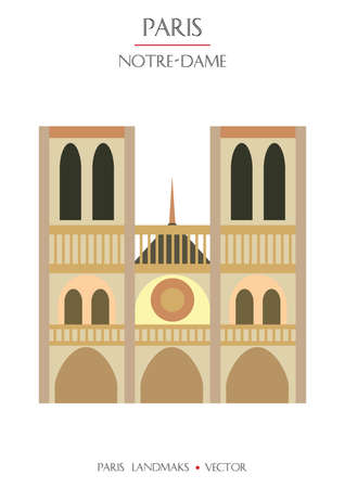 Colorful vector Notre-Dame Cathedral, famous landmark of Paris, France. Vector illustration isolated on white background. Stock illustration 向量圖像