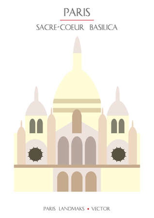 Colorful vector Basilica of the Sacred Heart of Paris, famous landmark of Paris, France. Vector illustration isolated on white background. Stock illustration