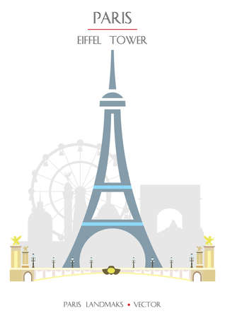 Colorful vector Eiffel Tower of Paris, famous landmark of Paris, France. Vector illustration isolated on white background. Stock illustration
