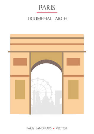 Colorful vector Triumphal Arch famous landmark of Paris, France. Vector illustration isolated on white background. Stock illustration  イラスト・ベクター素材