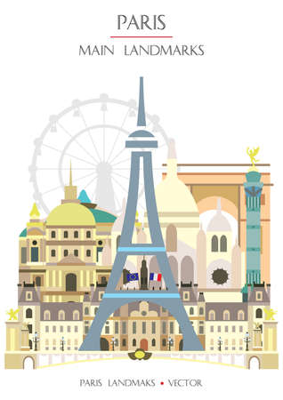 Colorful vector vertical illustration of famous landmarks of Paris, France. Vector flat illustration isolated on white background. Stock illustration