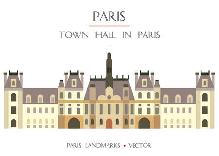 Colorful vector Town Hall in Paris (City Hall), famous landmark of Paris, France. Vector flat illustration isolated on white background. Stock illustration