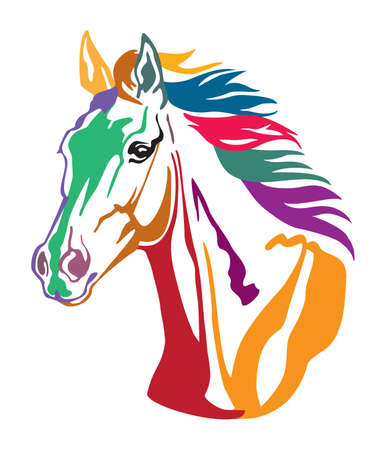 Colorful decorative contour portrait of beautiful running horse with long mane, looking  in profile. Vector illustration in different colors isolated on white background. Image for logo, design and tattoo.