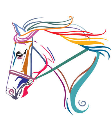 Colorful decorative contour portrait of running horse in bridle and long mane, looking  in profile. Vector illustration in different colors isolated on white background. Image for design, logo and tattoo.