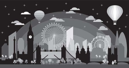London city at sundown skyline silhouette vector Illustration in black and grey colors isolated on black background. Panoramic vector silhouette Illustration of landmarks of London, England.