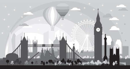 London city at sunise skyline silhouette vector Illustration in black and grey colors isolated on black background. Panoramic vector silhouette Illustration of landmarks of London, England.