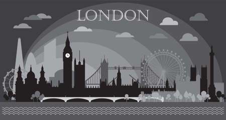 Monochrome London city skyline silhouette vector Illustration in black and grey colors isolated on grey background. Panoramic vector silhouette Illustration of landmarks of London, England.