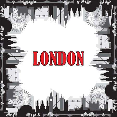 London city skyline silhouette vector square closed illustration in black and grey colors isolated on white background. Square vector silhouette Illustration of landmarks of London, England.
