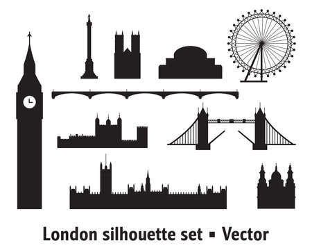 Vector set of  landmarks of London. City Skyline vector illustration in black colors isolated on white background. Outline set of vector silhouette illustration of landmarks of London, England.  向量圖像