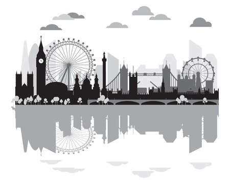 Monochrome London city skyline silhouette with reflection, vector illustration in black and grey colors isolated on white background. Outline panoramic vector silhouette illustration of landmarks of L