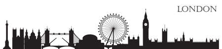 Monochrome London city skyline silhouette vector Illustration in black color isolated on white background. Outline panoramic vector silhouette Illustration of main landmarks of London, England.