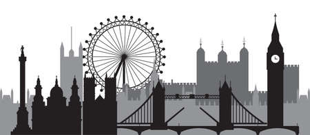Monochrome London city skyline silhouette vector Illustration in black and grey colors isolated on white background. Panoramic vector silhouette Illustration of landmarks of London, England.
