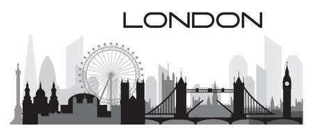 London city skyline outline silhouette vector Illustration in black and grey colors isolated on white background. Panoramic vector silhouette Illustration of landmarks of London, England.