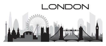 Londres city skyline contour silhouette vecteur Illustration en couleurs noir et gris isolé sur fond blanc. Silhouette vecteur panoramique Illustration des monuments de Londres, en Angleterre. Vecteurs