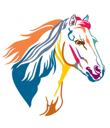 Colorful decorative contour portrait of grace running horse with long mane, looking  in profile. Vector illustration in different colors isolated on white background.
