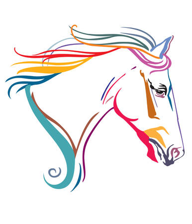 Colorful decorative ornamental contour portrait of running horse with long mane, looking  in profile. Vector illustration in different colors isolated on white background.