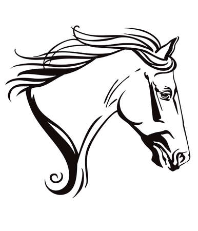 Decorative monochrome ornamental contour portrait of running horse with long mane, looking in profile. Vector illustration in black color isolated on white background.