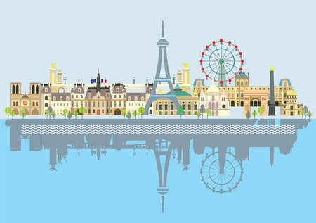 Paris City Skyline with reflection in water. Colorful isolated vector illustration on blue background. Vector illustration of main landmarks of Paris, France. Paris vector icon. Paris building outline  イラスト・ベクター素材