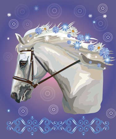 Horse in bridle, vector colorful realistic illustration. Portrait of running white horse with different flowers in long mane isolated on blue gradient background. Image for art and design