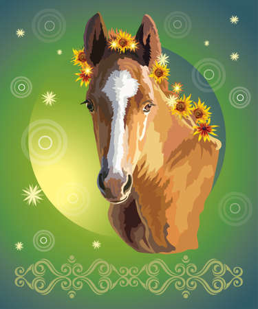 Funny foal, vector colorful realistic illustration. Portrait of bay little horse with sunflowers in mane isolated on green gradient background. Image for art and design
