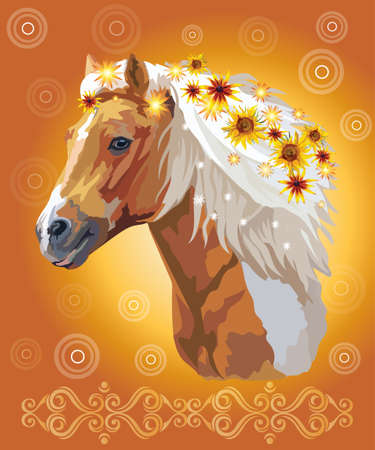 Piebald horse, vector colorful realistic illustration. Portrait of running horse with flowers in mane isolated on orange gradient background with ornament and circles. Image for art and design Illustration