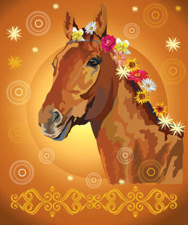Ð¡hestnut horse, vector colorful realistic illustration. Portrait of horse with flowers in mane isolated on orange gradient background with ornament and circles. Image for art and design Illustration