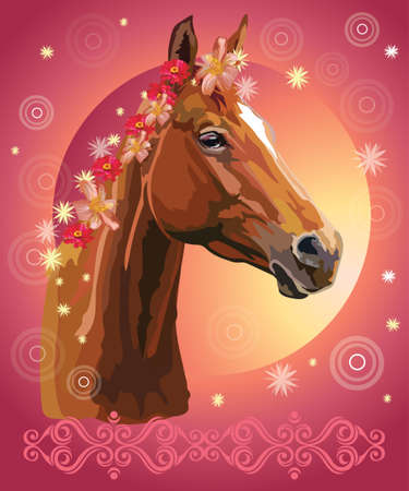 Сhestnut horse, vector colorful realistic illustration. Portrait of horse with flowers in mane isolated on pink gradient background with ornament and circles. Image for art and design
