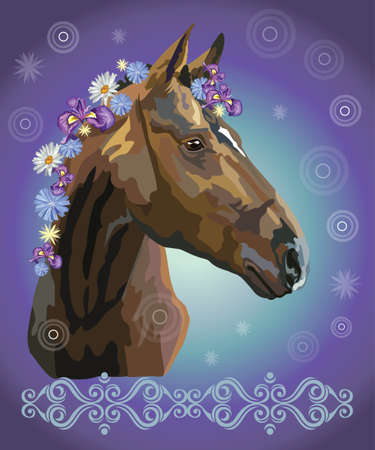 Brown horse looking in profile, vector colorful realistic illustration. Portrait of horse with flowers in mane isolated on blue gradient background with ornament and circles. Image for art and design