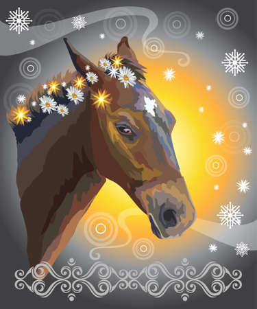 Brown horse, vector colorful realistic illustration. Portrait of horse with flowers in mane isolated on orange and grey gradient background with snowflakes, ornament and circles. Image for art and design Illustration