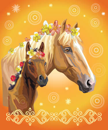 Mare and foal vector colorful realistic illustration. Portrait of horses with different flowers in mane isolated on orange gradient background with decorative ornament and circles. Image for art and design