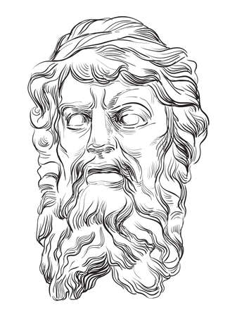 Ancient stone bas-relief in the shape of a human head with beard, vector hand drawing illustration in black color isolated on white background.