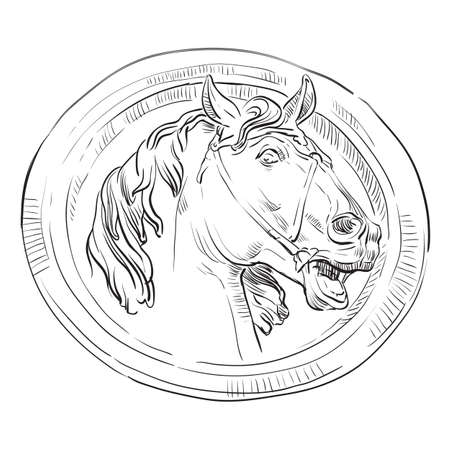 Ancient vintage round bas-relief in the form of a head of horse, vector hand drawing illustration in black color isolated on white background