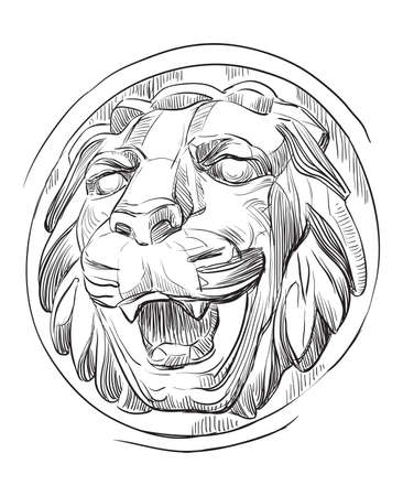 Ancient stone bas-relief in the form of a lion's head with open mouth, vector hand drawing illustration in black color isolated on white background Banque d'images - 140402614