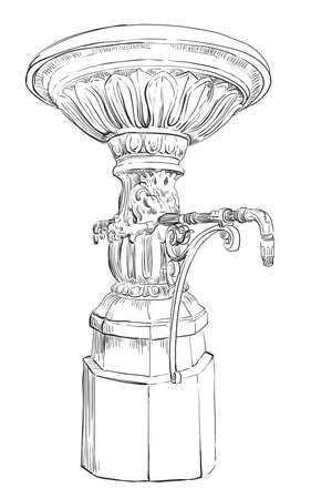 Vintage decorative street drinking fountain. Vector hand drawing illustration in black color isolated on white background. Ilustração