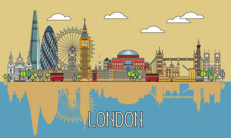 Colorful vector line art illustration of London landmarks with reflection in water. London skyline vector illustration. Set of vector colorful illustration of attractions of London, England.