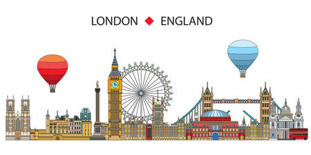 Colorful vector line art illustration of London landmarks isolated on white background. London skyline vector illustration. Set of vector colorful illustration of attractions of London, England.   イラスト・ベクター素材