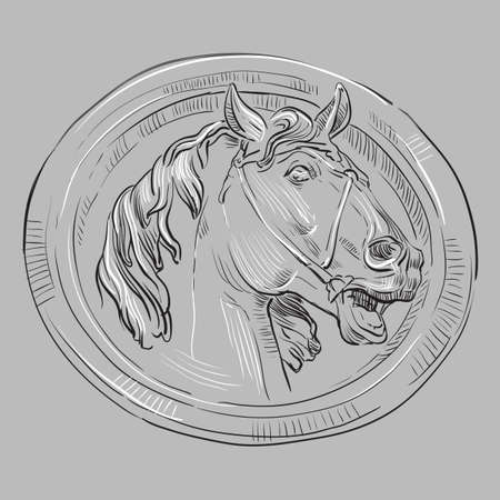 Ancient vintage round bas-relief in the form of a head of horse, vector hand drawing illustration in black and white colors isolated on grey background Ilustração